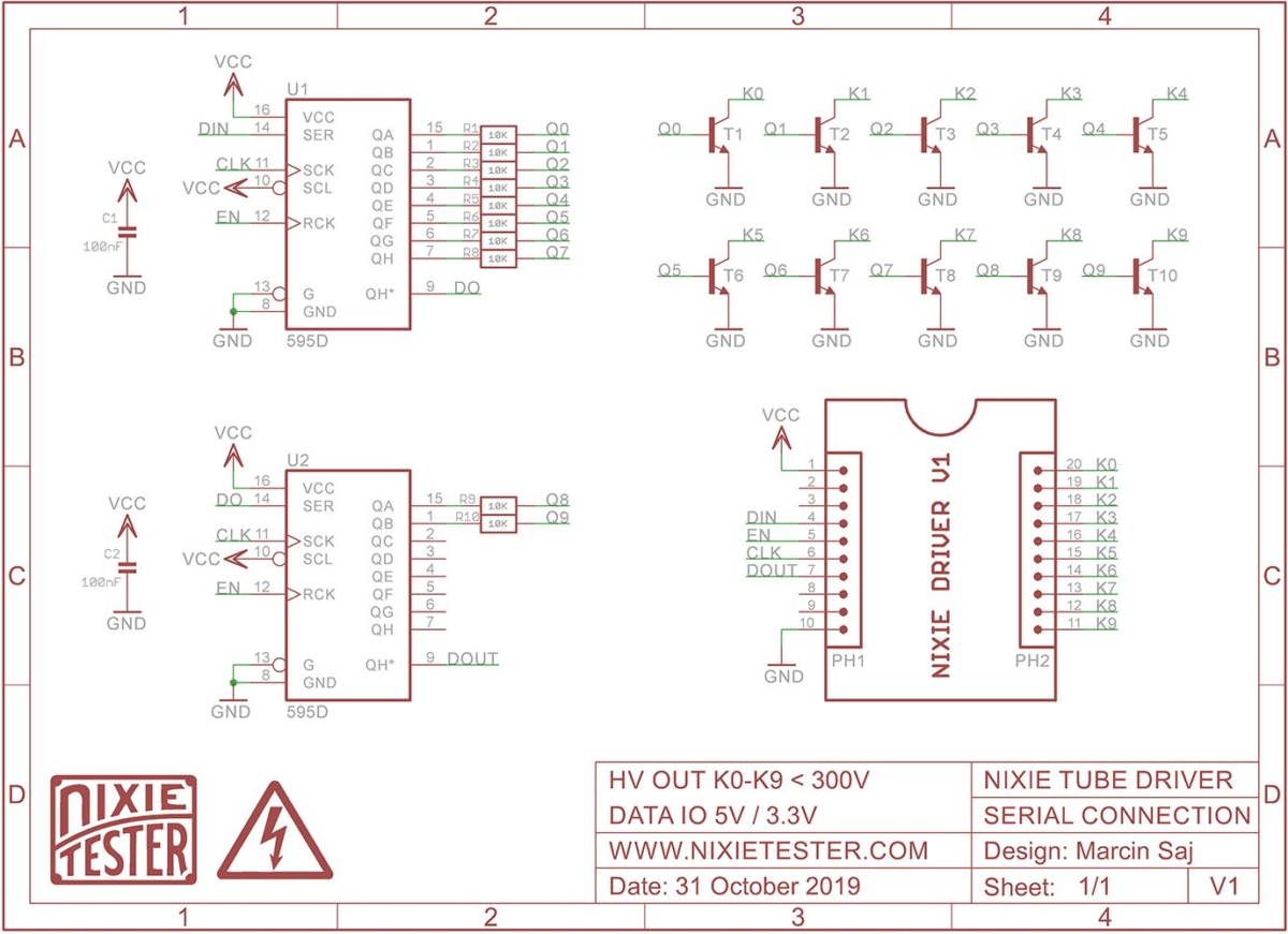 Nixie Tube Driver - Schematic